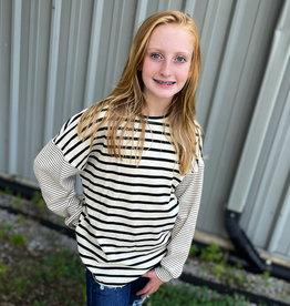 Hayden Amanda Top in Black Stripe
