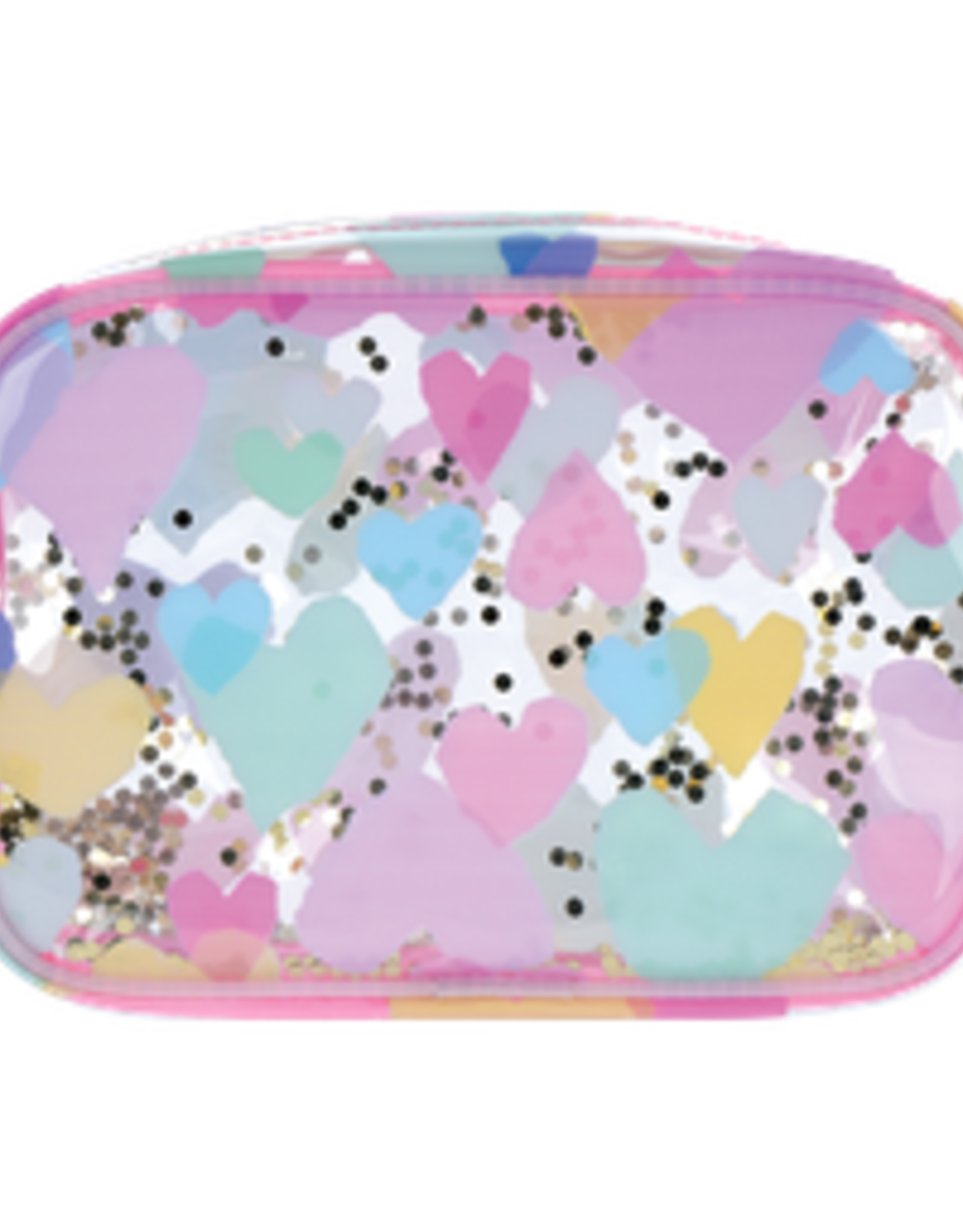 Iscream Pastel Hearts Clear Cosmetic Bag