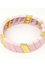 Pia Pink & Gold Wide Enamel Stretch Bracelet