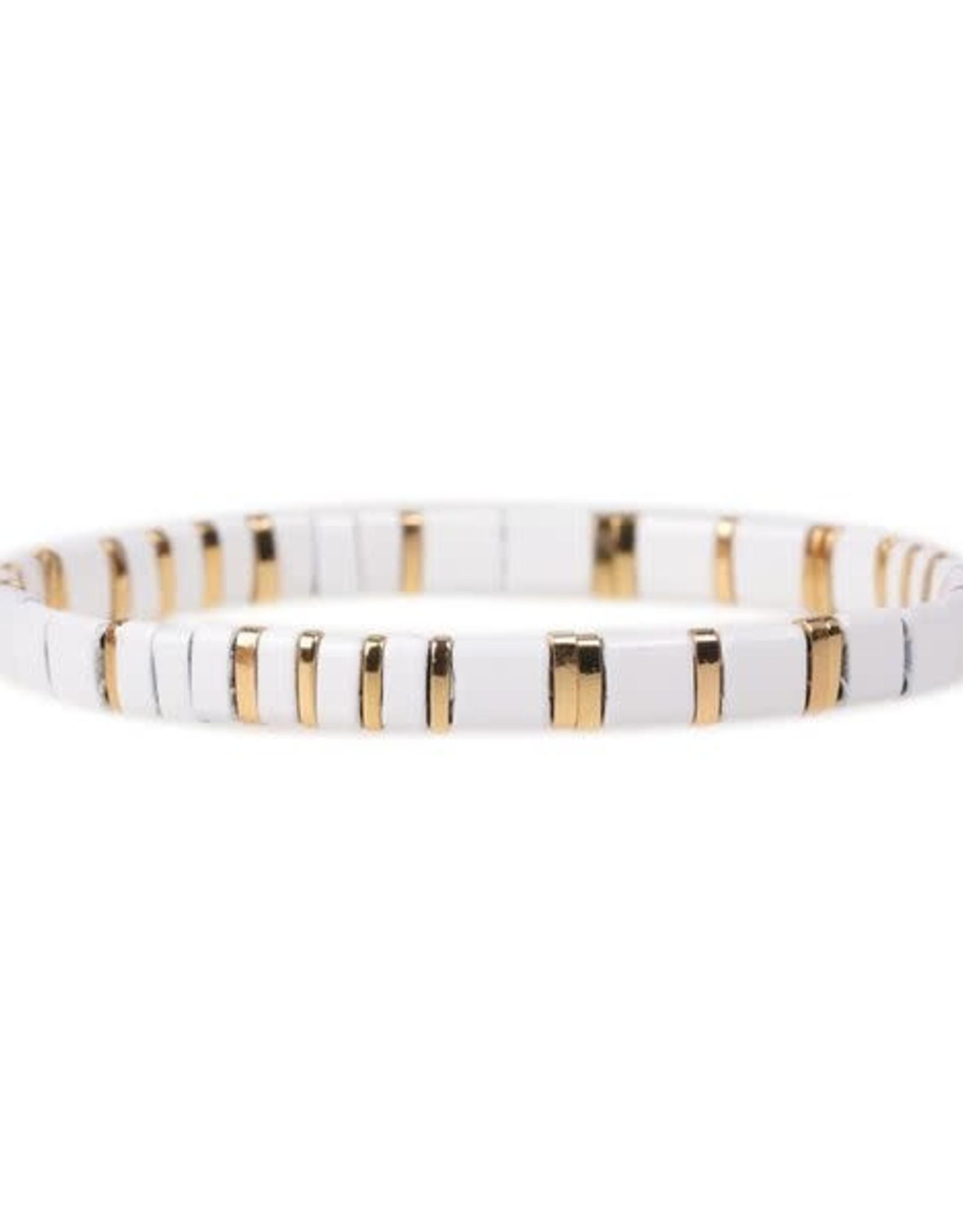 White & Gold Glass Tila Bracelet