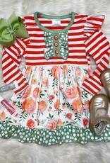 Honeydew Samantha Dress in Orange Floral