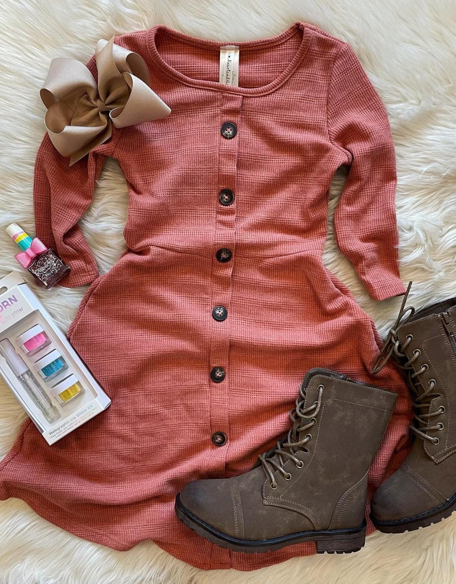 McKenna Button Dress in Rust