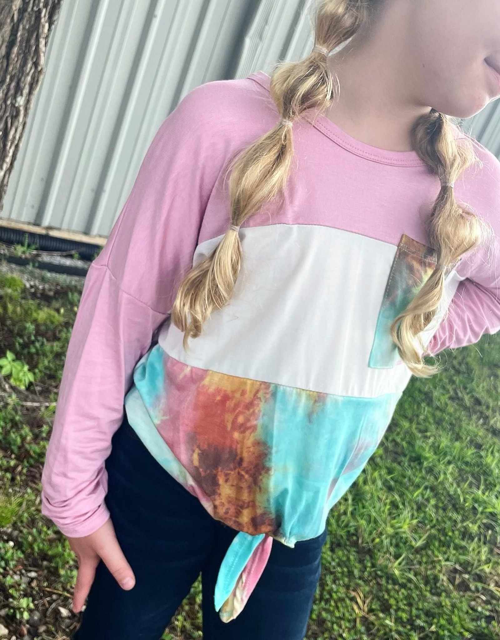 Ady Color Block Top in Pink