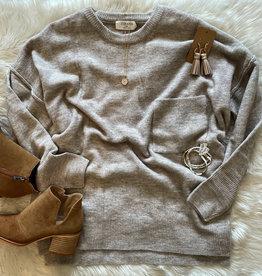 zenana Heather Pocket Sweater in Mocha