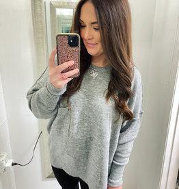 zenana Heather Pocket Sweater in Grey