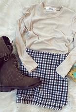 Sadie  & Sage Cassidy Plaid Skirt in Navy