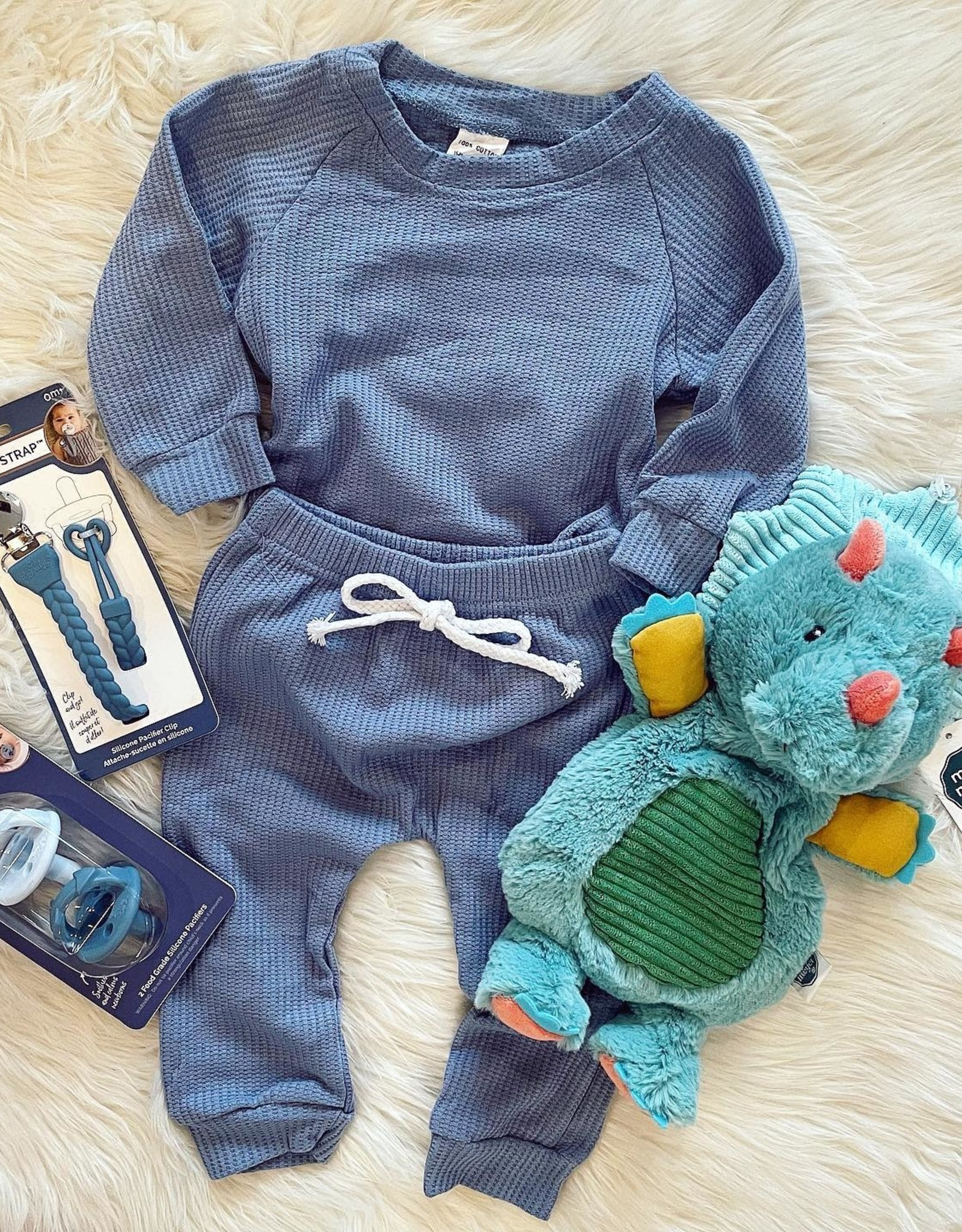 Honeydew Andy Waffle Knit Set in Blue