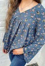 Hannah Peplum Top in Blue Floral
