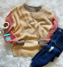 Hayden Lauren ColorBlock Sweater in Mustard