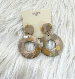Clay Earring in Gold and Peach