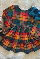 RuffleButts Autumn Rainbow Plaid Scoop Back Ruffle Dress