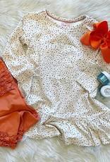 RuffleButts Spotty Dot Long Sleeve Drop Waist Dress Set