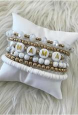 Mama Bracelet Stack in White