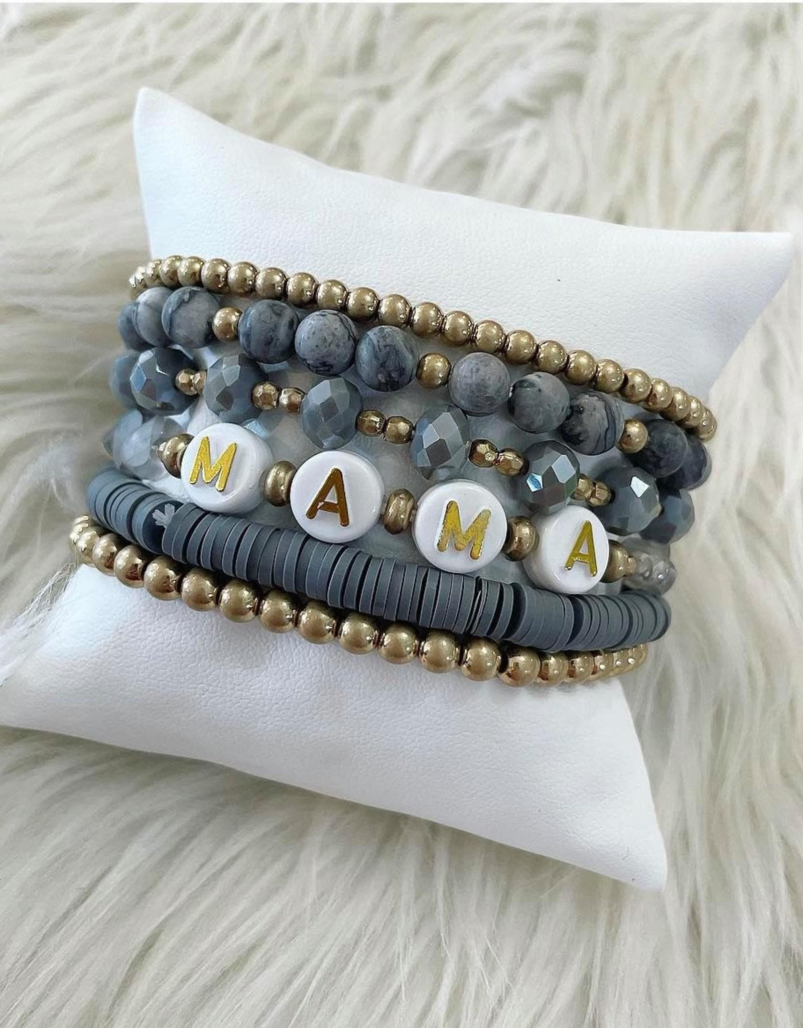 Mama Bracelet Stack in Grey