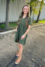 Mittoshop Fallon BabyDoll Mini Dress in Olive