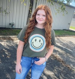 Smile Face Tee in Olive