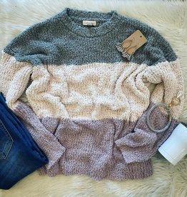 Nova Popcorn ColorBlock Sweater in Sage
