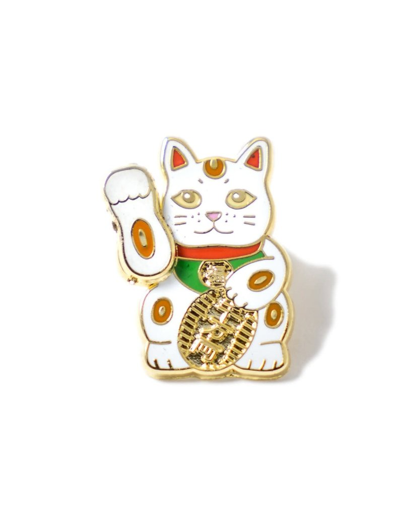 Pintrill White Lucky Cat Pin