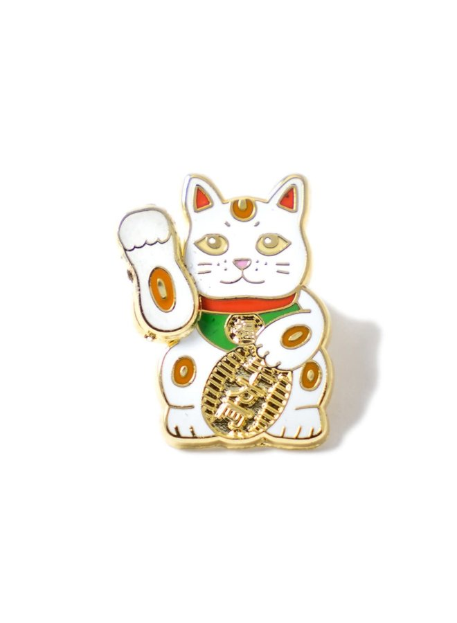 White Lucky Cat Pin