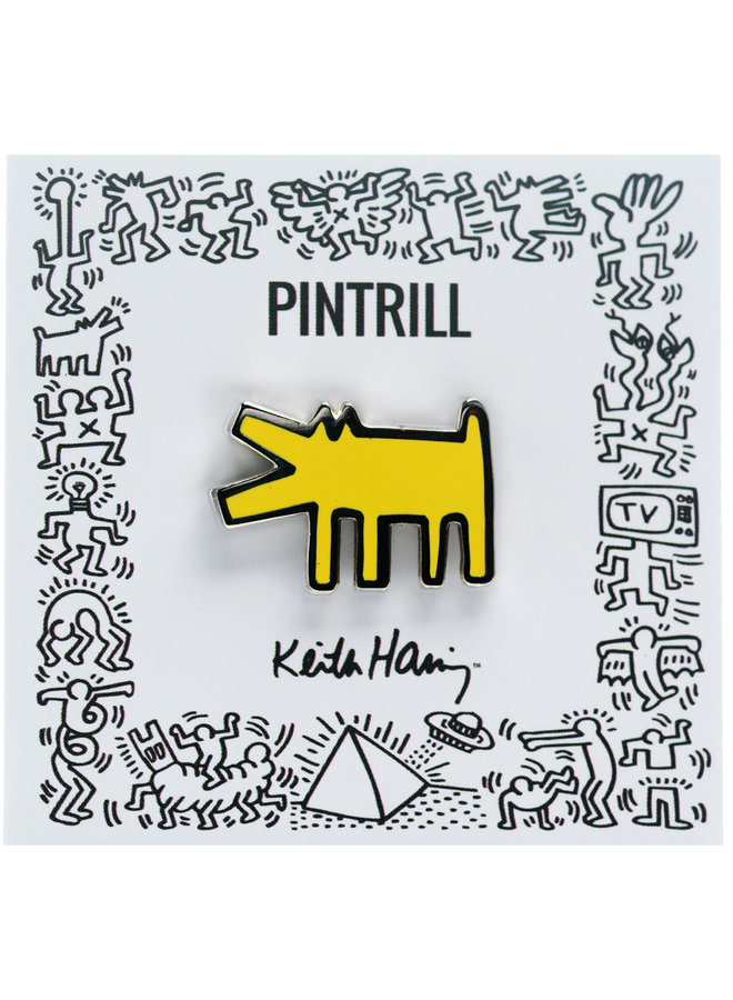 Keith Haring - Barking Dog Pin - Yellow