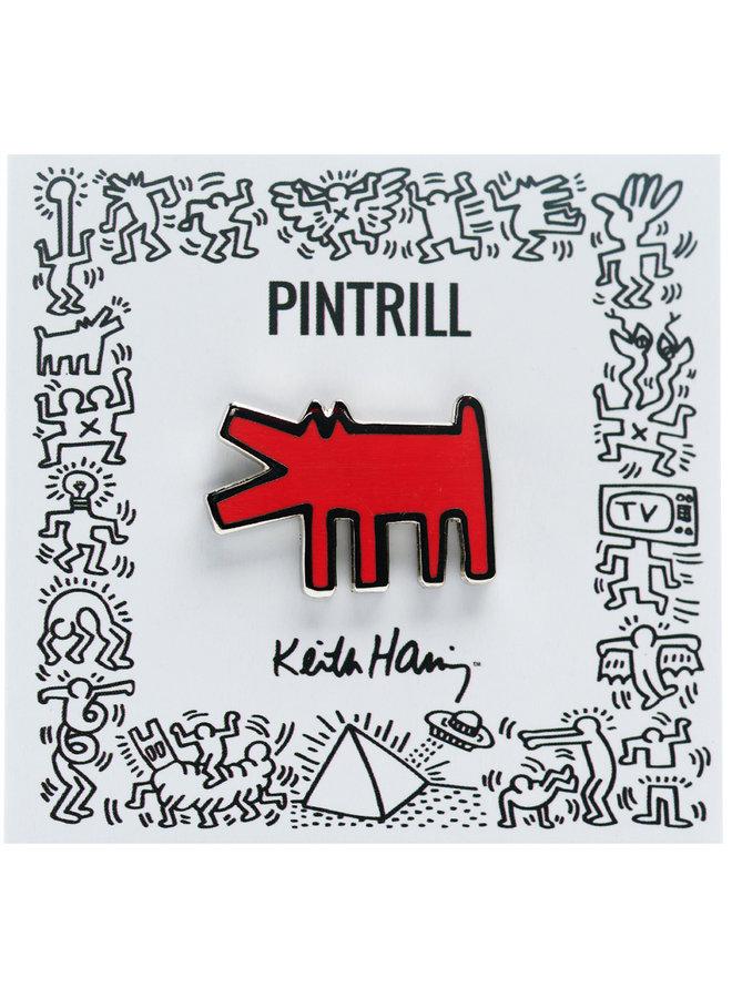 Keith Haring - Barking Dog Pin - Red