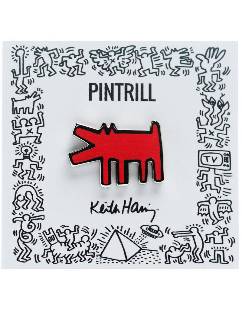 Pintrill Keith Haring - Barking Dog Pin - Red