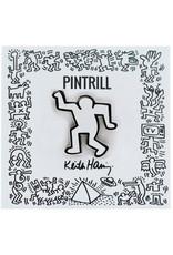 Keith Haring - Dancing Man Pin - White