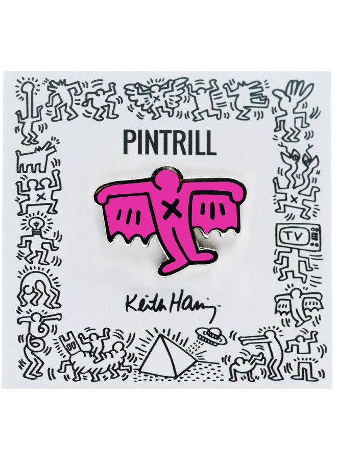 Keith Haring - Bat Demon Pin - Pink