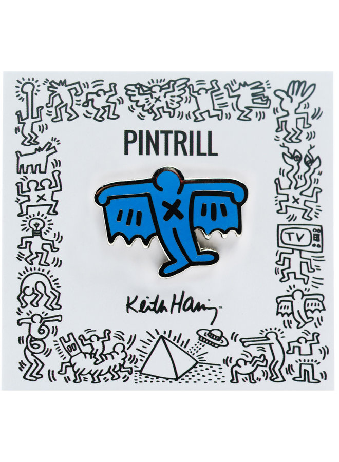 Keith Haring - Bat Demon Pin - Blue