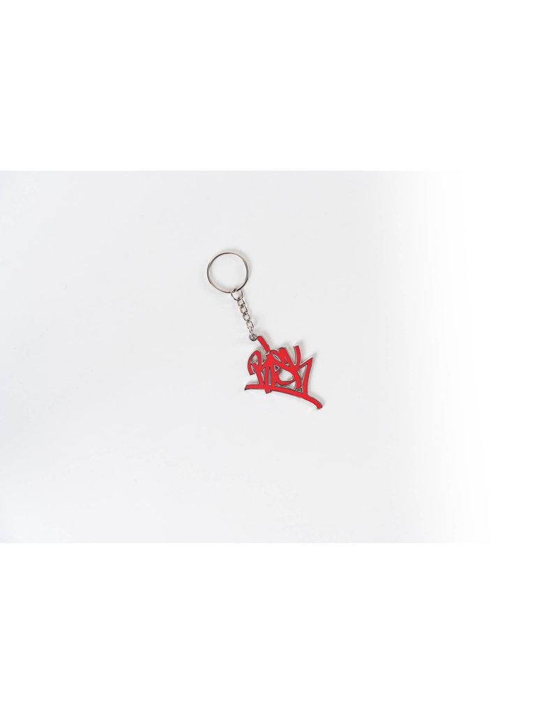 Risk Red Script Keychain