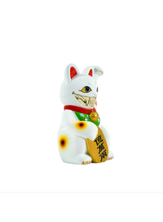 "Ron English Lucky Cat 8"" White Grin Figure"