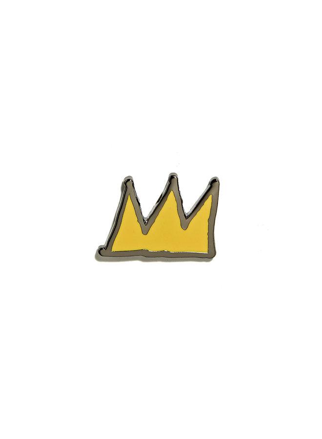 Jean-Michel Basquiat - Crown Pin - Yellow on Black