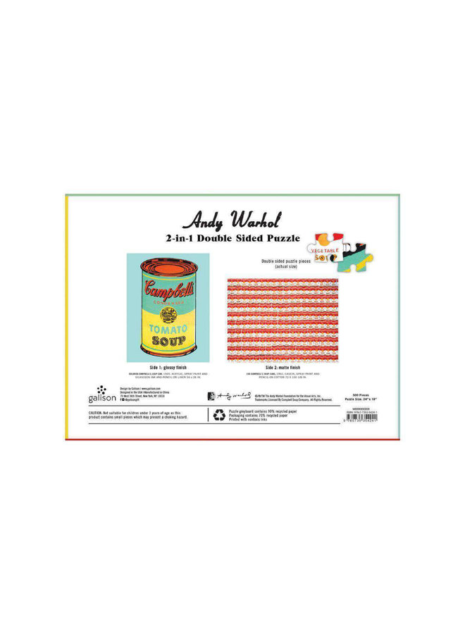 Double-Sided 500 Piece Warhol Soup Can Puzzle