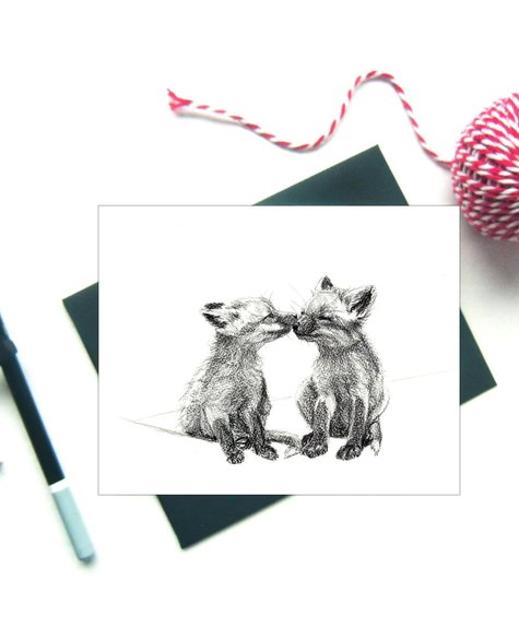 Le Nid Greeting Card - Foxes