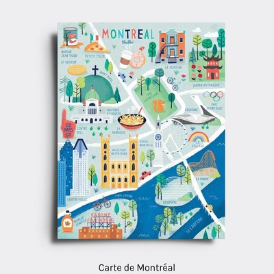 Elaillce Map of Montreal postcard