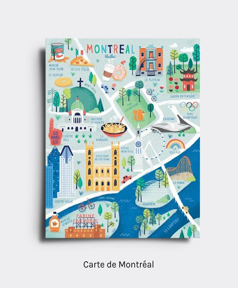 Elaillce Postcard - Map of Montreal