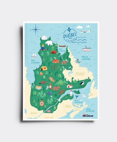 Elaillce Québec map postcard