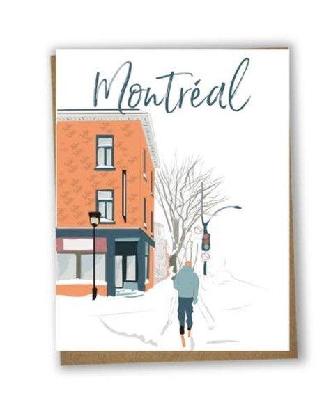Lili Graffiti Skiing in the city Greetings card