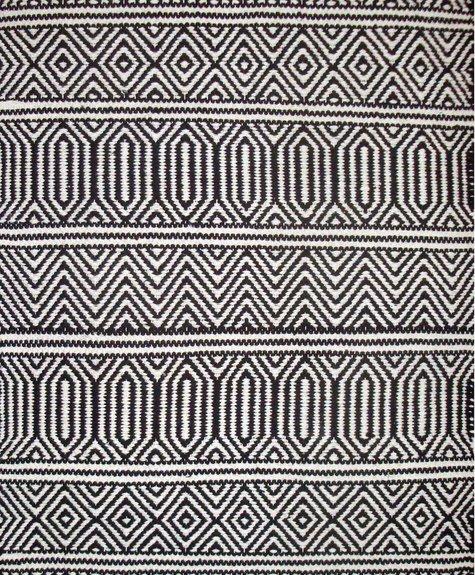 Avocado Decor Tapis coton - Géo noir (2'x3'; 60x91cm)