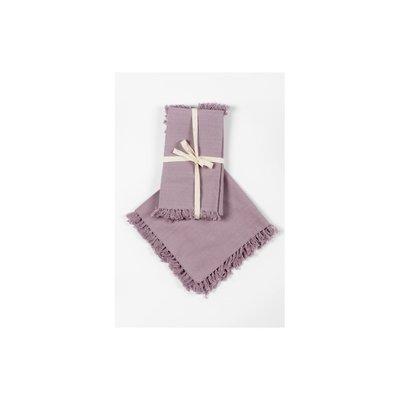 S/4 Serviettes frangées - Violet