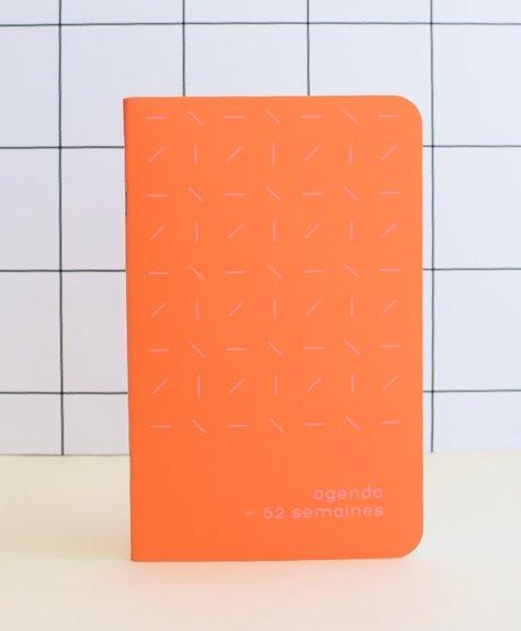Agenda Archipel Orange - Confettis - Trait rose fluo