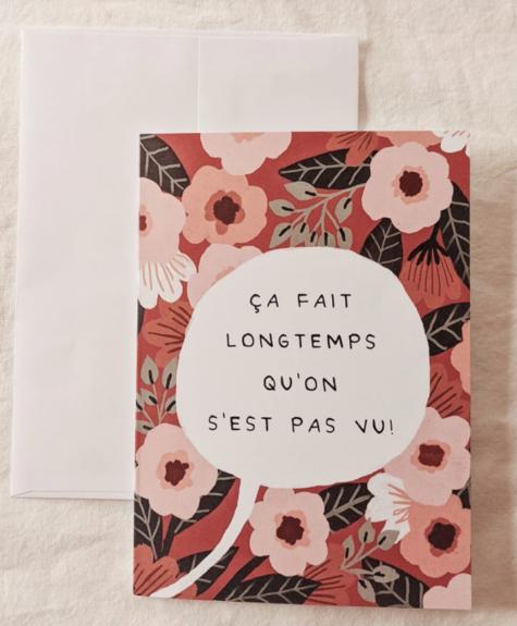 Mimi - Auguste Ça fait longtemps - Carte de souhaits