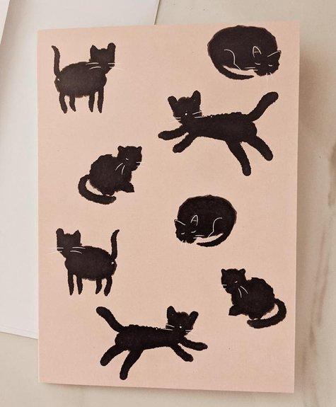 Mimi - Auguste Black cat - greeting-card
