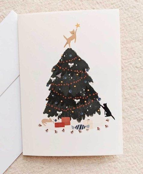 Carte Mimi - Arbre de noël chats