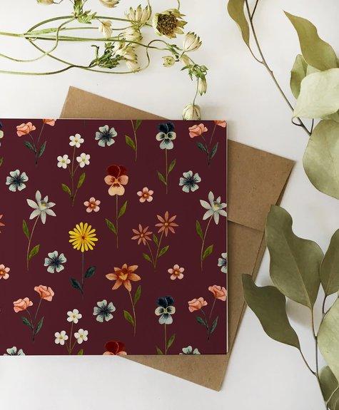 Florale bourgogne - Carte Flafla