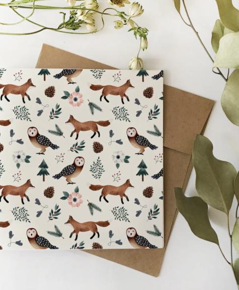 Décor automnal (motif renards) - Carte Flafla