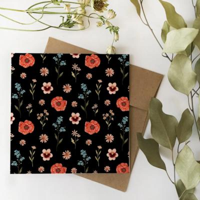 Carte Florale noire