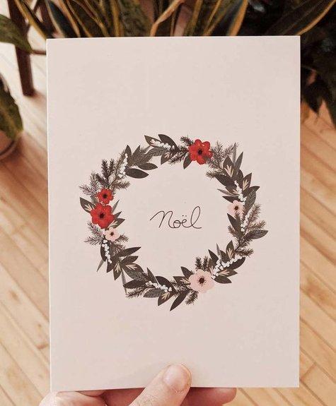 Carte Mimi - Couronne de Noël