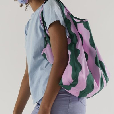 Baggu Baggu bag -  Green and Pink Wavy Stripe