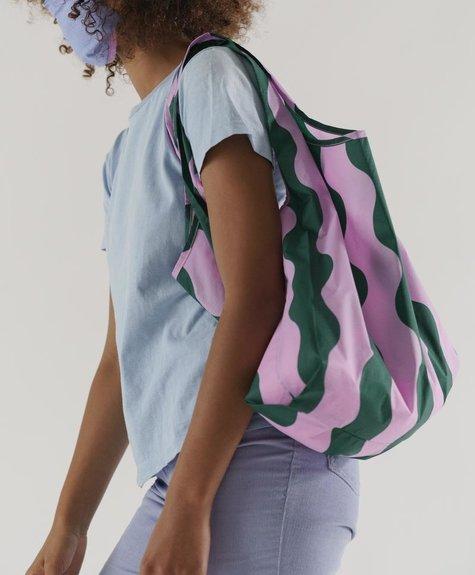 Baggu Reusable Baggu bag -  Green and Pink Wavy Stripe